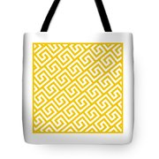 Diagonal Greek Key With Border In Mustard Tote Bag