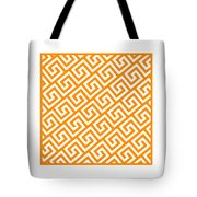 Diagonal Greek Key With Border In Tangerine Tote Bag