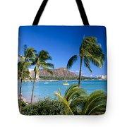 Diamond Head And Palm Trees Tote Bag