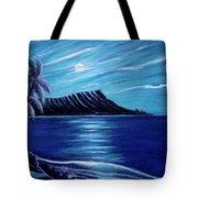 Diamond Head Moon Waikiki Beach #288 Tote Bag