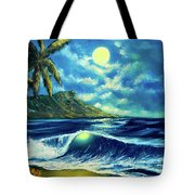 Diamond Head Moon Waikiki Beach #407 Tote Bag