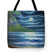 Diamond Head Moon Waikiki Beach  #409 Tote Bag