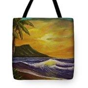 Diamond Head Sunrise Oahu #414 Tote Bag