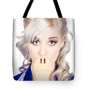 Diet Woman Covering Mouth With Secret Recipe Spoon Tote Bag