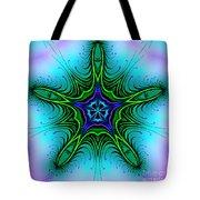 Digital Kaleidoscope Green Star 001 Tote Bag