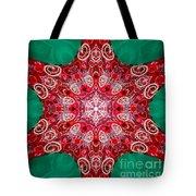 Digital Kaleidoscope Red-green-white 8 Tote Bag