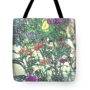 Digital Pencil Sketch Flowers Tote Bag