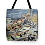 Dinghies At The Dock Tote Bag by Michele A Loftus