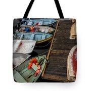 Dinghies At Town Wharf Tote Bag