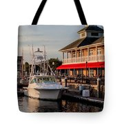 Dining At The Marina Tote Bag