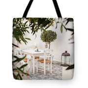 Dining In The Courtyard Tote Bag