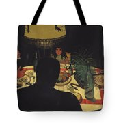 Dinner By Lamplight Tote Bag by Felix Edouard Vallotton