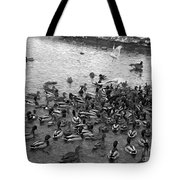 Dinner Is Served - Black And White Tote Bag