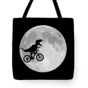Dinosaur Bike And Moon Tote Bag