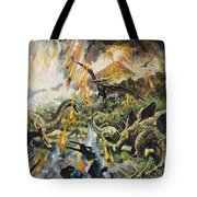 Dinosaurs And Volcanoes Tote Bag