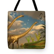 Diplodocus Dinosaur Romance Tote Bag