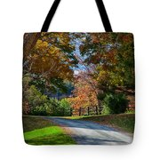Dirt Road Through Vermont Fall Foliage Tote Bag