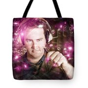 Disconnected Male Dj Holding Unplugged Audio Jack Tote Bag