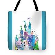Disney Castle 2 Watercolor Print Tote Bag