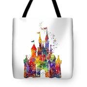 Disney Castle 6 Watercolor Print Tote Bag