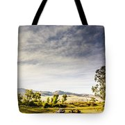 Distant Car Wrecks On Outback Australian Land  Tote Bag