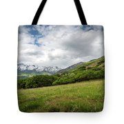 Distant Snow-capped Mountains Tote Bag