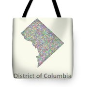 District Of Columbia Line Art Map Tote Bag