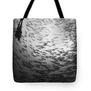 Diver And A Large School Of Bigeye Tote Bag