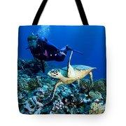 Diver And Green Sea Turtle Chelonia Tote Bag