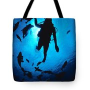Diver And Reef Fish Tote Bag