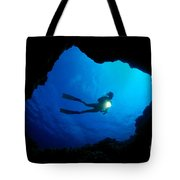 Diver At Cavern Entrance Tote Bag by Dave Fleetham - Printscapes