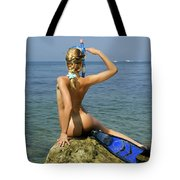 Diver On Guard. Tote Bag