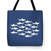 Diver Swimming With Sharks Tote Bag