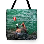 Divers At Sebastian Inlet On The Atlantic Coast Of  Florida Tote Bag