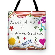 Divine Creation Doodle Quote Tote Bag