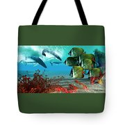 Diving Whales Tote Bag