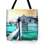 Do-00120 Side Gate In A Farm Tote Bag