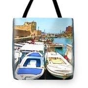 Do-00347 Boats In Byblos Port Tote Bag