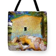 Do-00435 Building Surrounded By Cedars Tote Bag