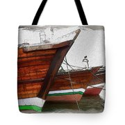 Do-00476 Abra Dhow Boats Tote Bag
