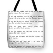 Do It Anyway By Mother Teresa 2 #minimalism #inspirational Tote Bag
