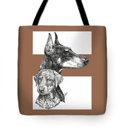 Cropped Doberman Pinscher And Pup Tote Bag
