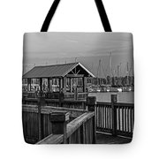 Dock At Mandarin Park Black And White Tote Bag
