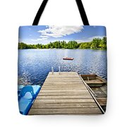 Dock On Lake In Summer Cottage Country Tote Bag by Elena Elisseeva