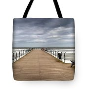 Dock With Benches, Saltburn, England Tote Bag by John Short