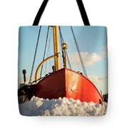 Docked At The Snowfront Tote Bag