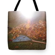 Dog And Autumn Leaves Tote Bag