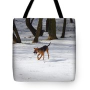 Dog And Winter Tote Bag