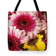 Dog Face Butterfly On Pink Mums Tote Bag