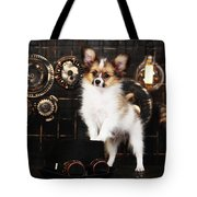 Dog On A Dark Background In The Style Of Steampunk Tote Bag